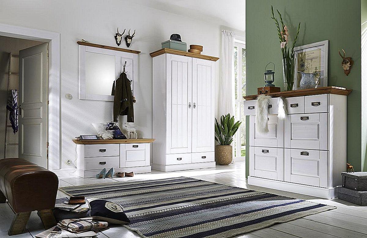 Massivholz Möbel Dielen Set 4teilig, Kiefer weiß gelaugt