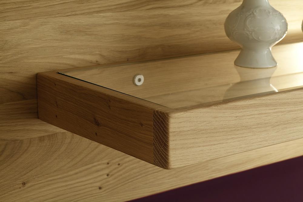 Holzwandboard mit Glas in asteiche bianco