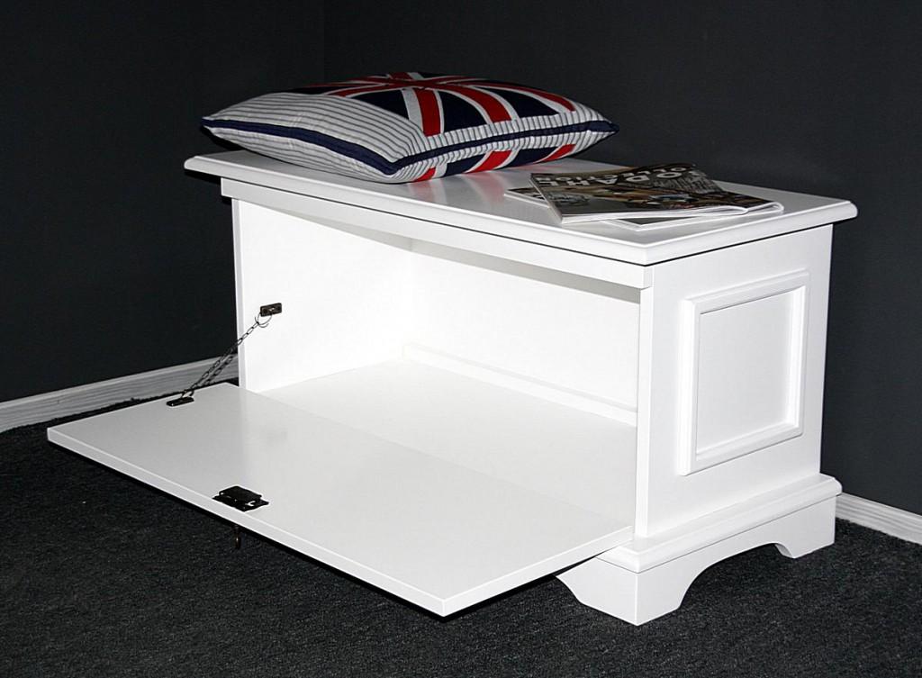 truhe wei sitztruhe flachdeckeltruhe flur schuhtruhe w schetruhe massiv holz ebay. Black Bedroom Furniture Sets. Home Design Ideas