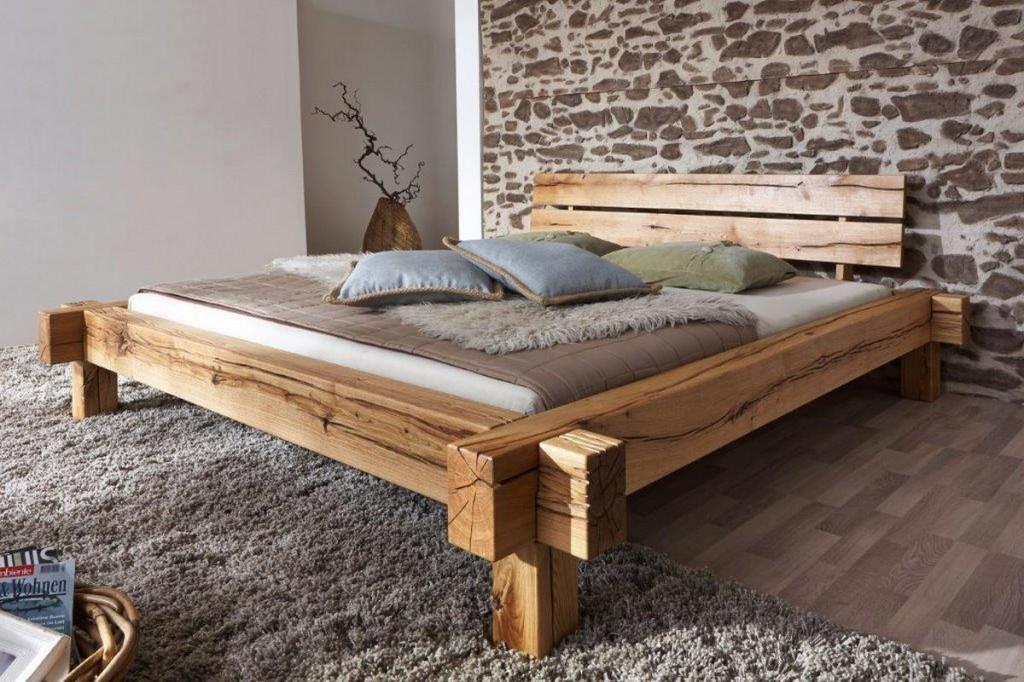 doppelbett bettgestell 200x200 balken bett rustikal wildeiche ... - Schlafzimmer Bett 200x200