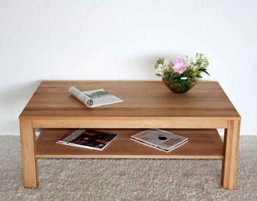 Couchtisch 120x70 Wohnzimmertisch Sofatisch Ablage Massiv Holz