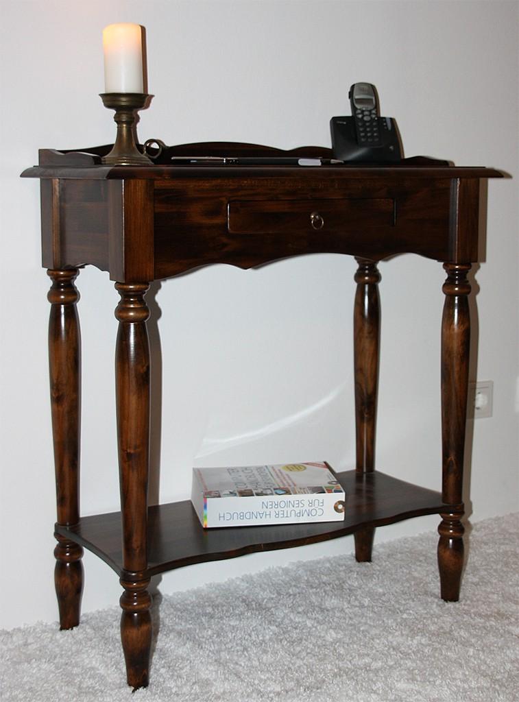 konsolentisch wandtisch telefontisch massiv holz braun wenge kolonial nussbaum ebay. Black Bedroom Furniture Sets. Home Design Ideas