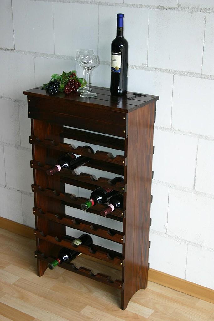 weinregal weinschrank 30 flaschen regal bar schrank massiv holz braun kolonial ebay. Black Bedroom Furniture Sets. Home Design Ideas