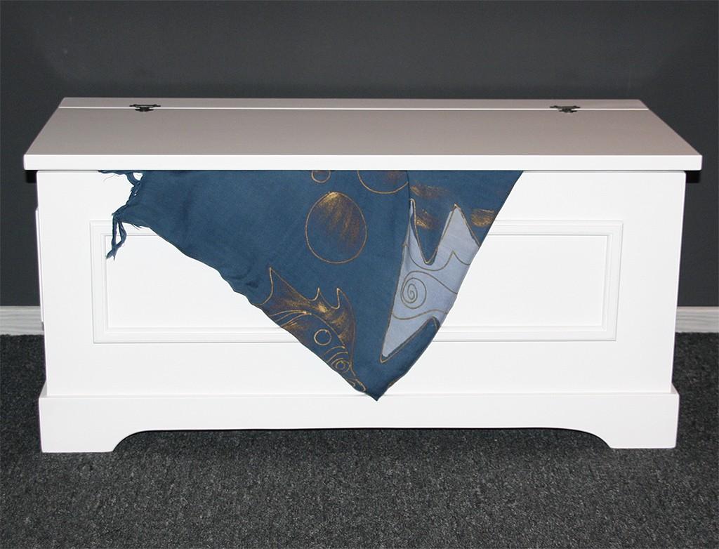 Wäschetruhe Holz Weis Lackiert Wäschekorb ~   Holztruhe Wäschetruhe Sitztruhe 39×84 holz massiv weiß  eBay