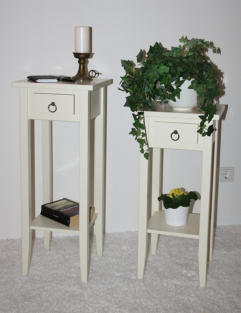 telefontisch blumentisch blumenst nder blumen hocker 80 holz massiv crem wei ebay. Black Bedroom Furniture Sets. Home Design Ideas