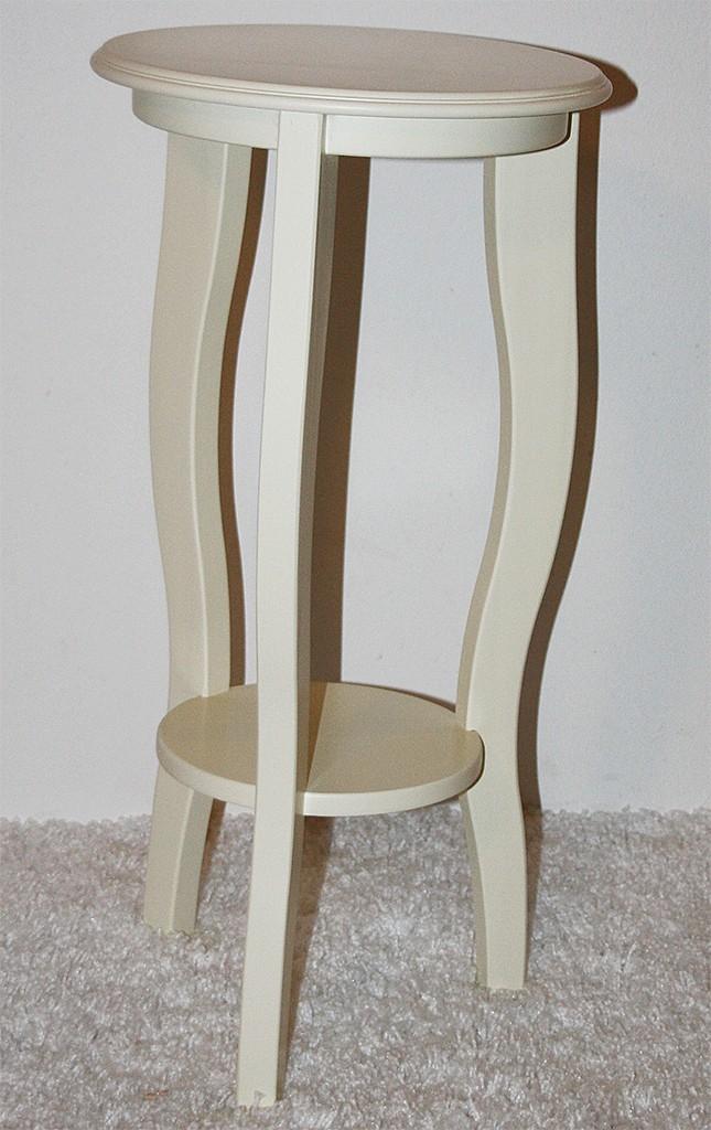 blumentisch blumens ule blumenhocker hocker rund 60 cm massiv holz creme wei ebay. Black Bedroom Furniture Sets. Home Design Ideas