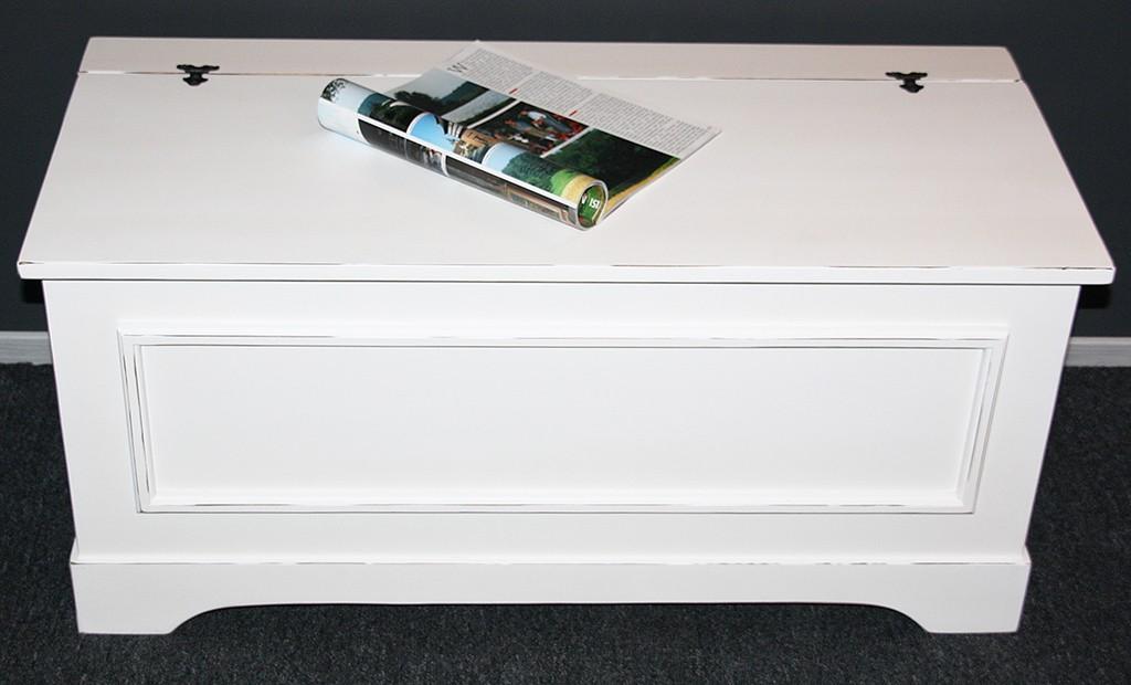 truhenbank truhe betttruhe w schetruhe sitztruhe 98 massiv holz wei vintage ebay. Black Bedroom Furniture Sets. Home Design Ideas