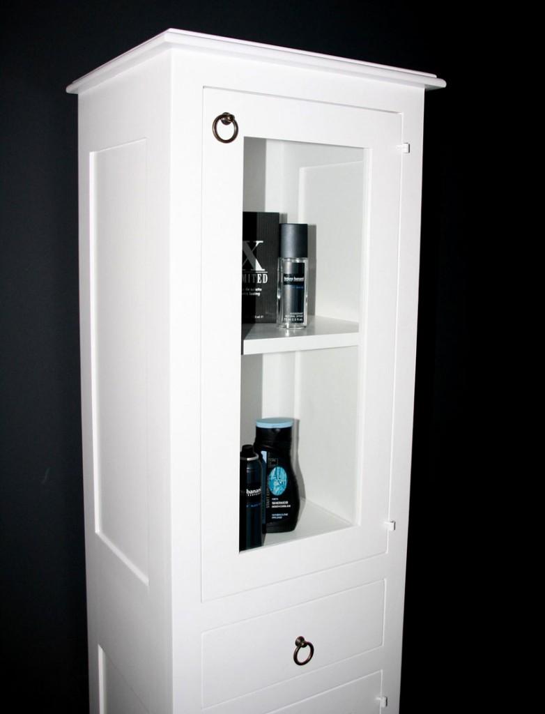 bad m bel hochschrank badezimmer glas schrank vitrine schmal wei massiv holz ebay. Black Bedroom Furniture Sets. Home Design Ideas