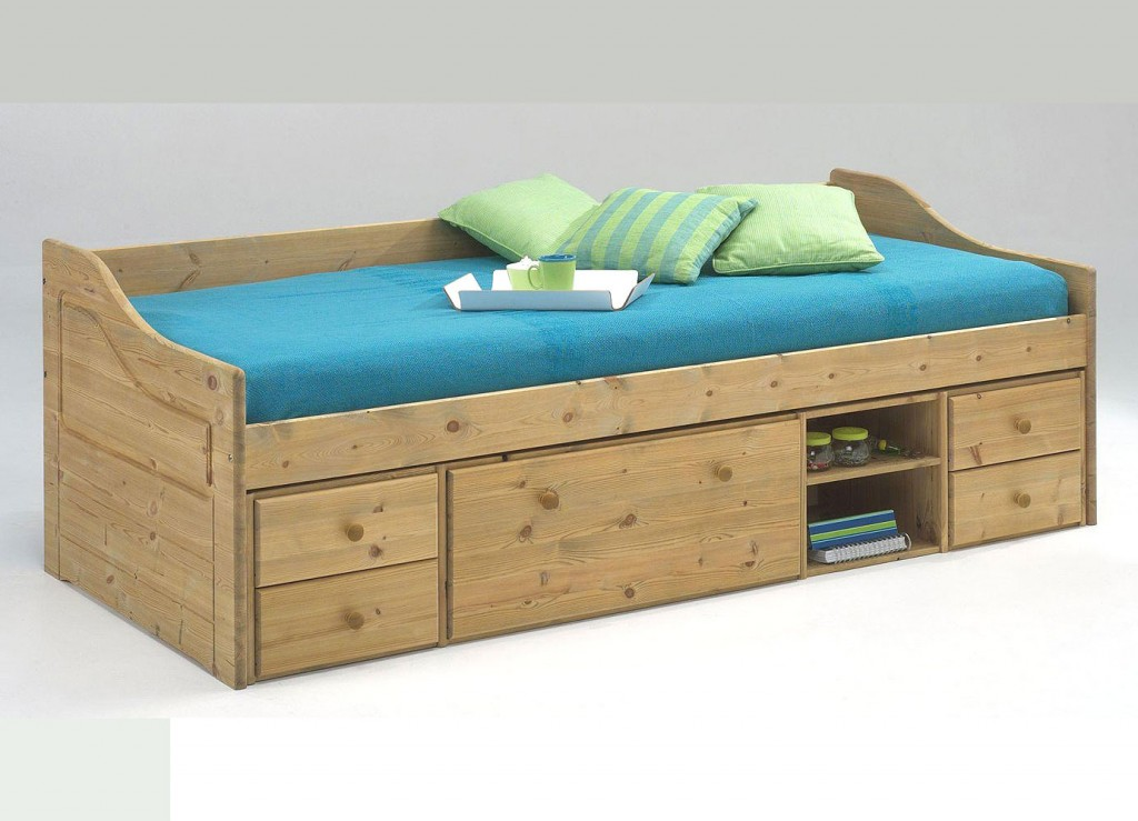 funktionsbett 90x200 jugendbett kojenbett bett kiefer massiv holz gelaugt ge lt ebay. Black Bedroom Furniture Sets. Home Design Ideas