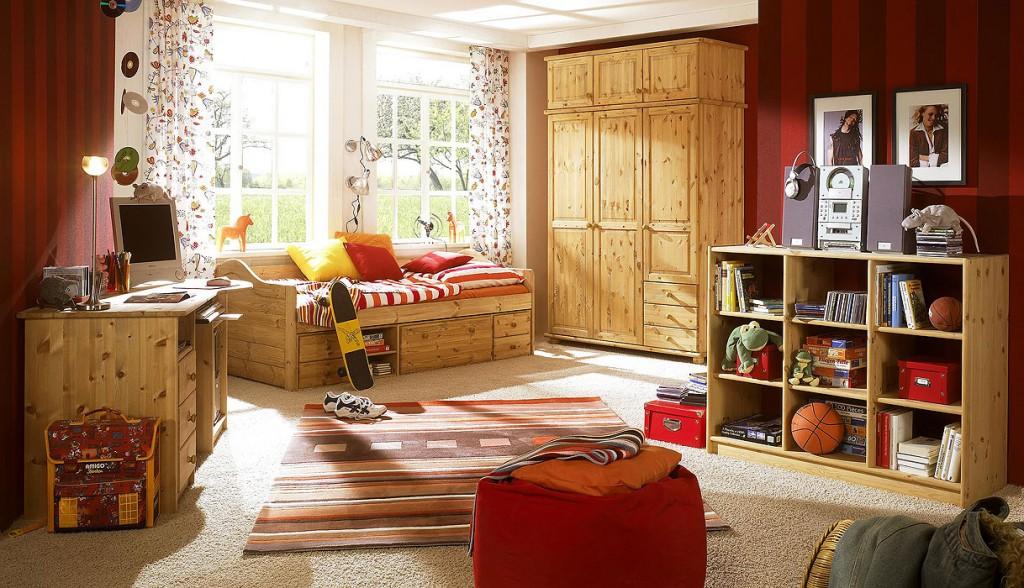 funktionsbett 90x200 jugendbett kojenbett bett kiefer massiv holz gelaugt ge lt ebay. Black Bedroom Furniture Sets. Home Design Ideas