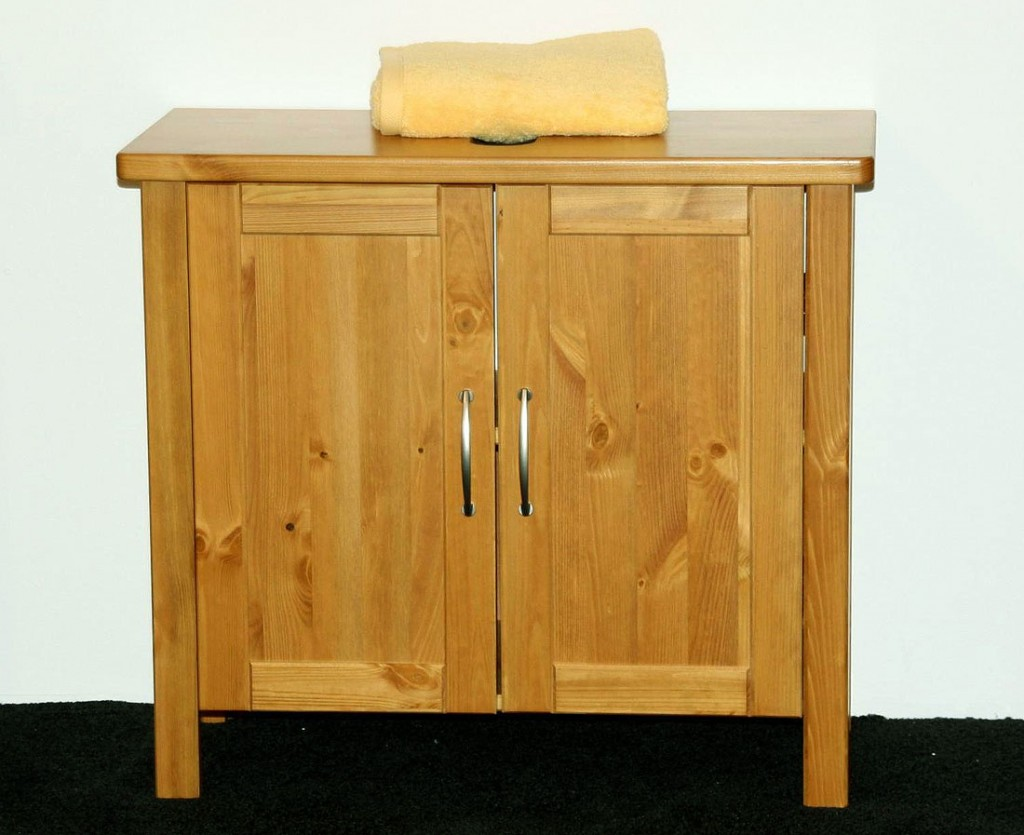 Massivholz waschbecken unterschrank waschtisch kiefer honig lackiert ebay - Badmobel massivholz ...