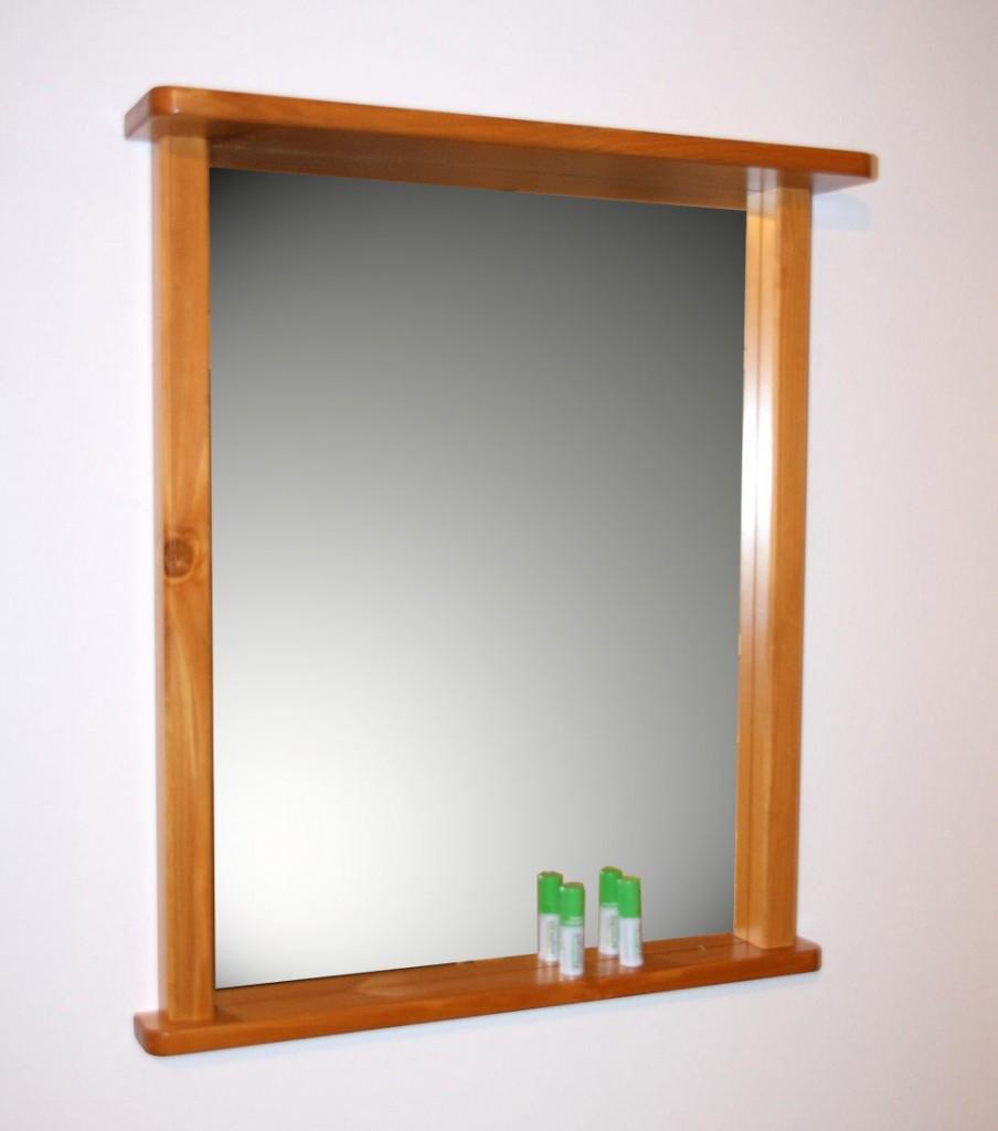wandspiegel bad flur spiegel mit rahmen und ablage massiv holz kiefer honig ebay. Black Bedroom Furniture Sets. Home Design Ideas