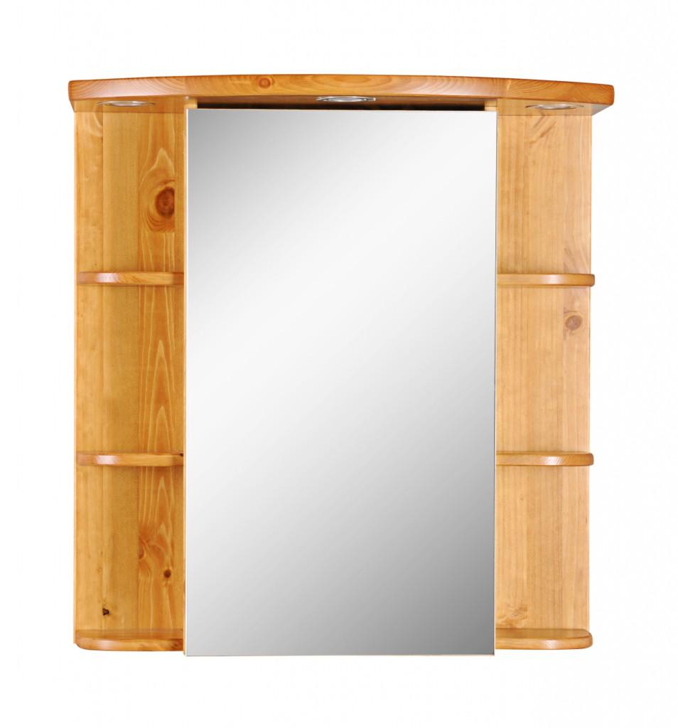Spiegelschrank holz massiv  Badmöbel Bad spiegelschrank Ablage Spiegel beleuchtung kiefer ...