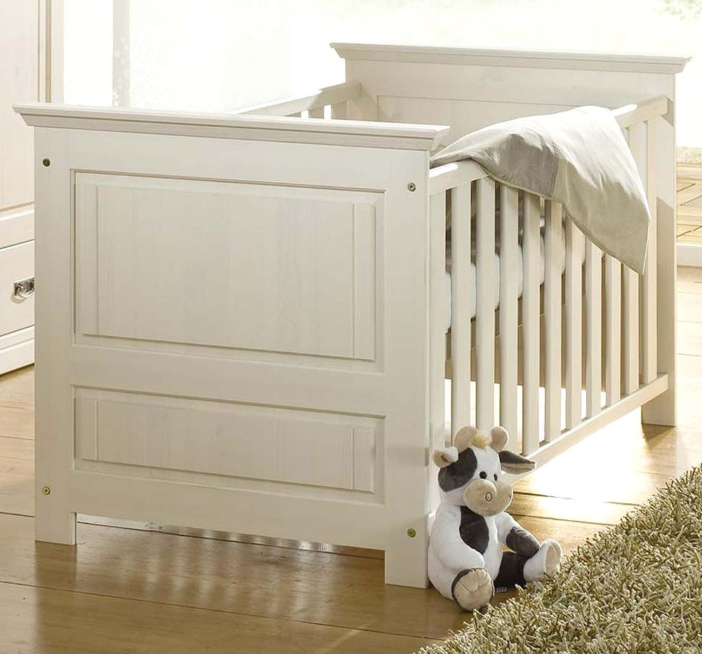massivholz babybett juniorbett wei gewachst kinderbett. Black Bedroom Furniture Sets. Home Design Ideas