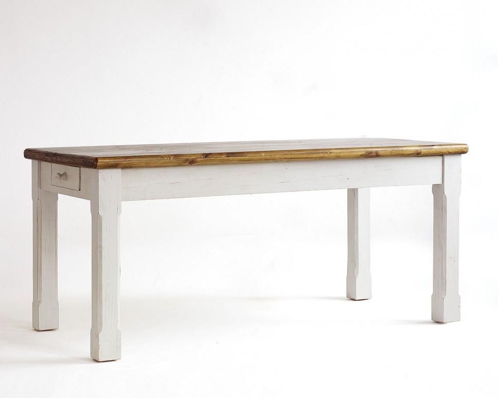 ... 180x90 Tisch Küchentisch Kiefer massiv weiß honig Vintage-Look