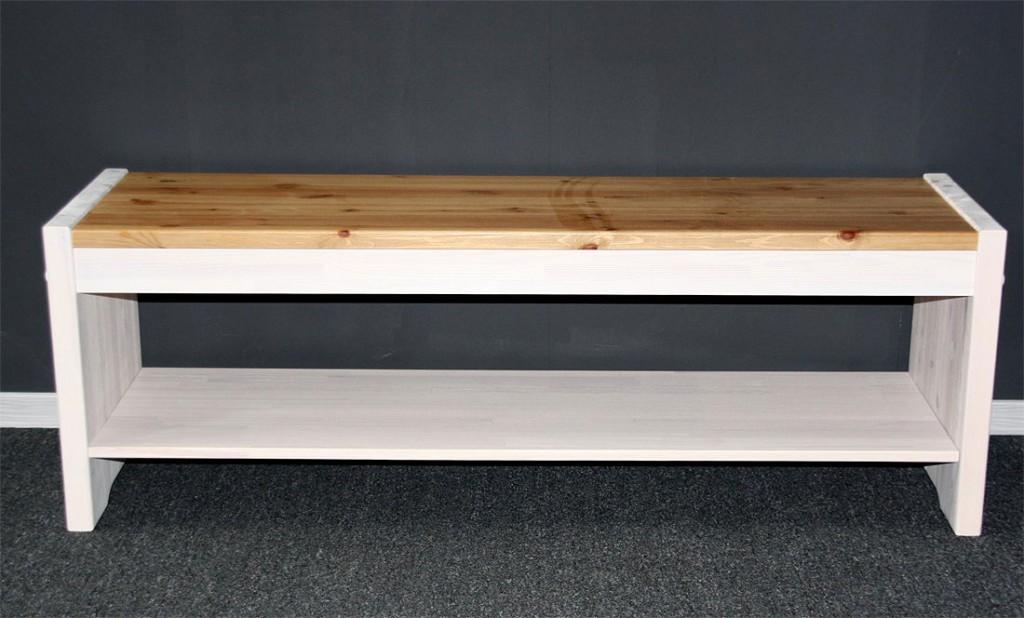 massivholz sitzbank kiefer massiv holzbank k chenbank wei antik kolonial. Black Bedroom Furniture Sets. Home Design Ideas