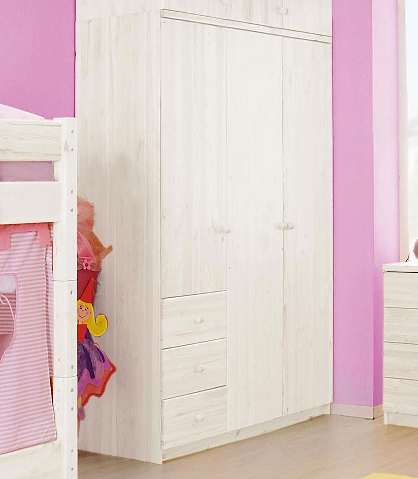 kleiderschrank wei lackiert kinderzimmerschrank 3t rig. Black Bedroom Furniture Sets. Home Design Ideas