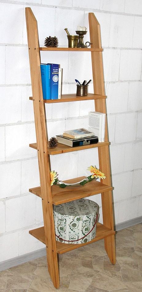 massivholz standleiter 5 stufen standregal leiterregal kernbuche massiv ge lt. Black Bedroom Furniture Sets. Home Design Ideas