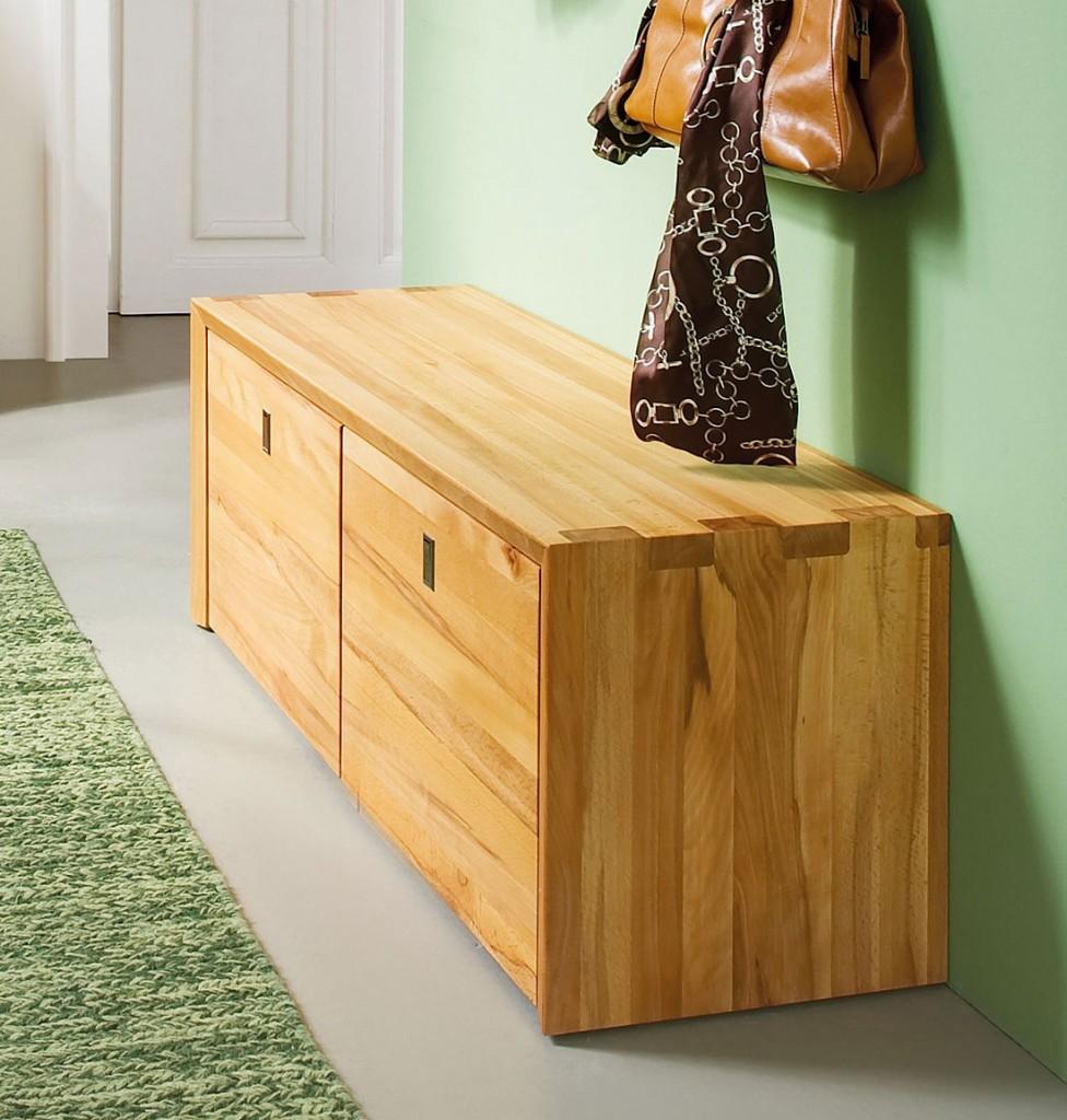 massivholz sitzbank holzbank mit 2 rollcontainern kernbuche massiv holz. Black Bedroom Furniture Sets. Home Design Ideas