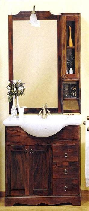 bad m bel set 5 tlg kolonial badezimmerm bel komplett 86 cm massiv holz braun ebay. Black Bedroom Furniture Sets. Home Design Ideas
