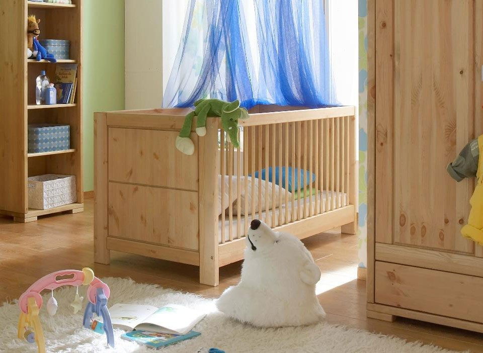 massivholz babybett 70x140 gitterbett kinderbett kiefer natur. Black Bedroom Furniture Sets. Home Design Ideas