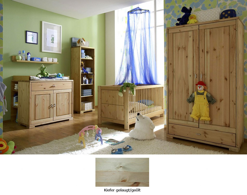 massivholz babyzimmer komplett kinderzimmer kiefer massiv holz gelaugt ge lt. Black Bedroom Furniture Sets. Home Design Ideas