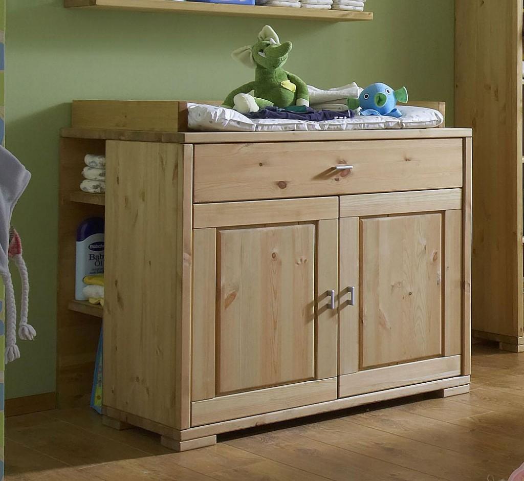 massivholz wickelkommode mit regal wickeltisch kiefer gelaugt ge lt. Black Bedroom Furniture Sets. Home Design Ideas