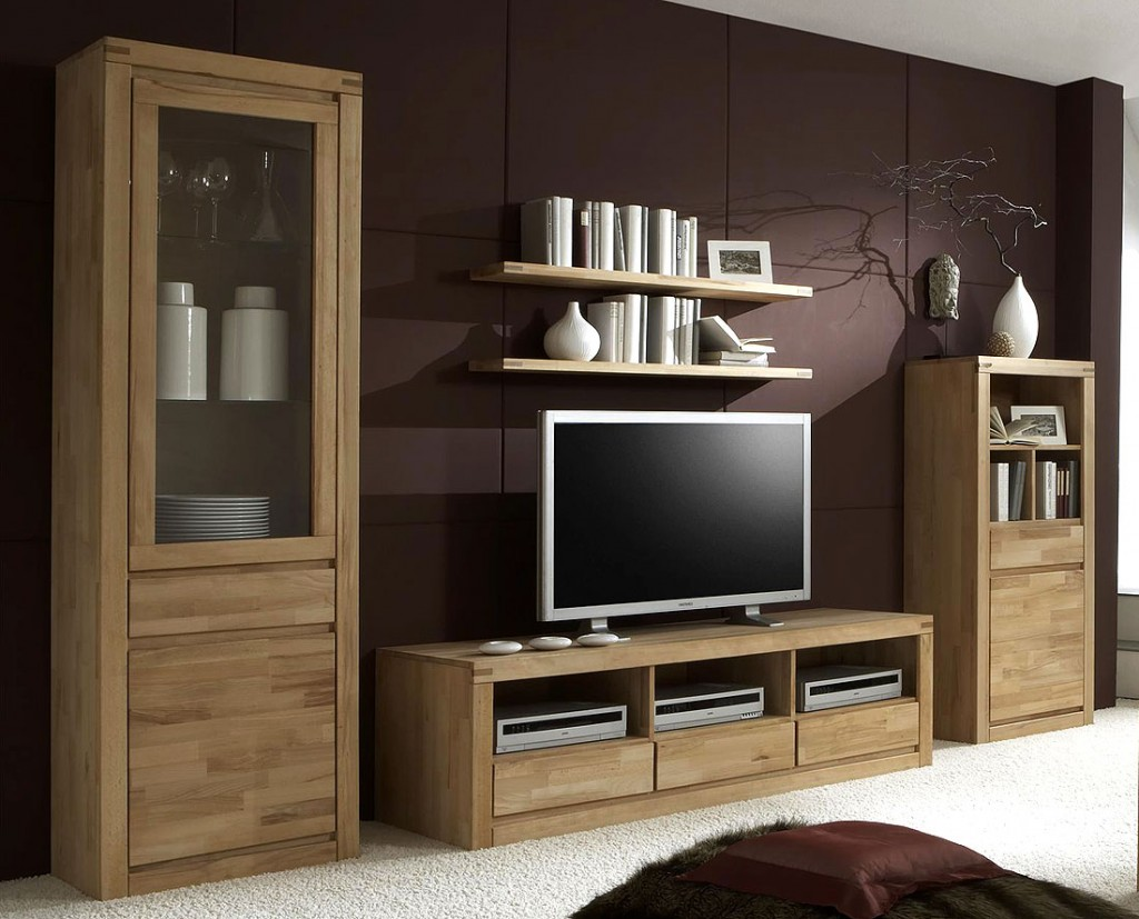 wohnwand holz massiv. Black Bedroom Furniture Sets. Home Design Ideas