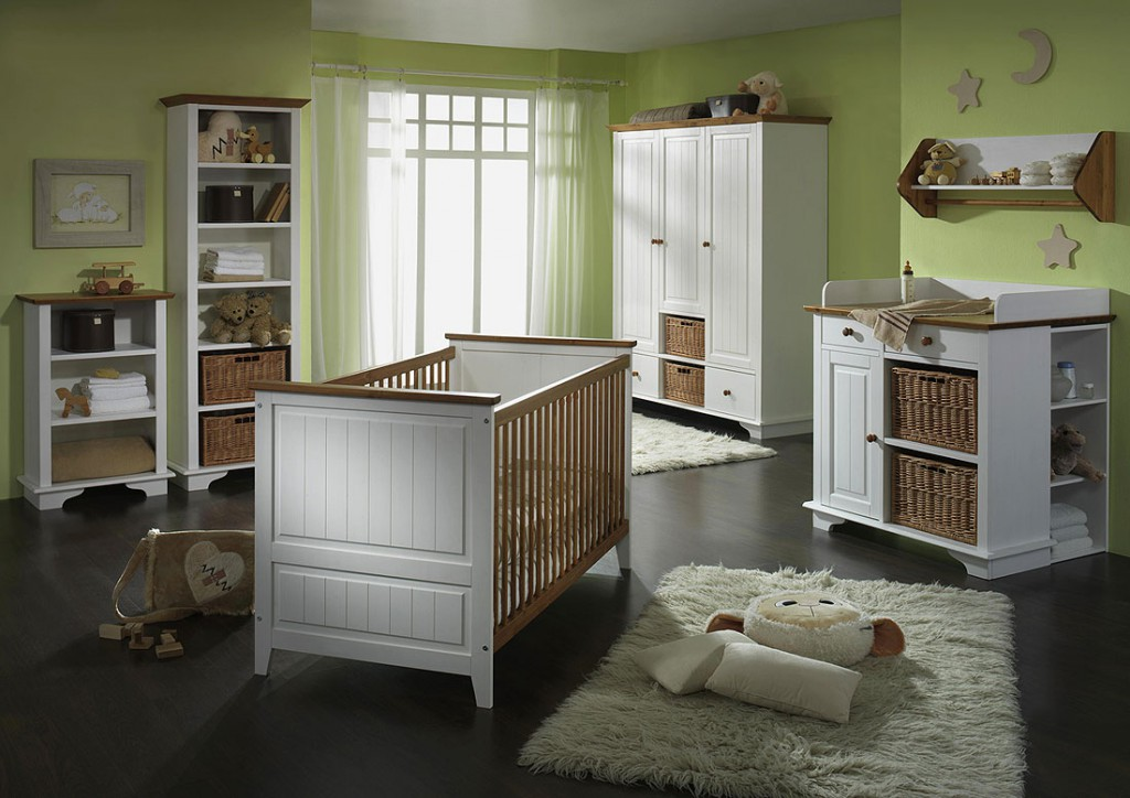 Massivholz Babyzimmer Set Kinderzimmer Möbel Weiss Honig Kiefer ...