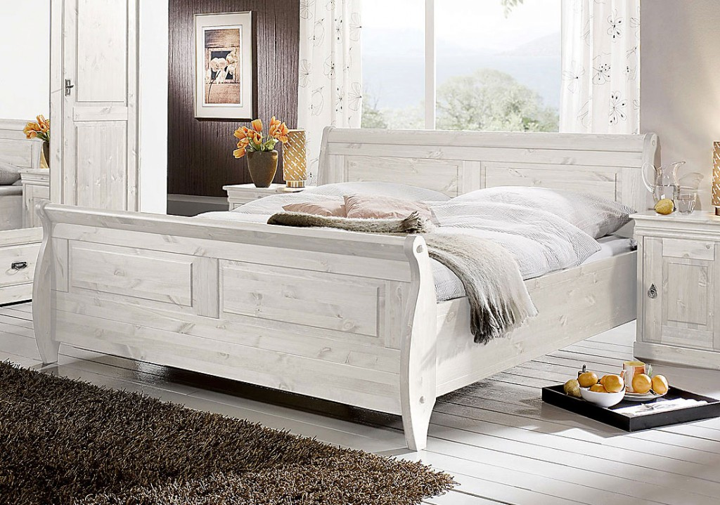massivholz bett holzbett doppelbett weiss kiefer massiv. Black Bedroom Furniture Sets. Home Design Ideas