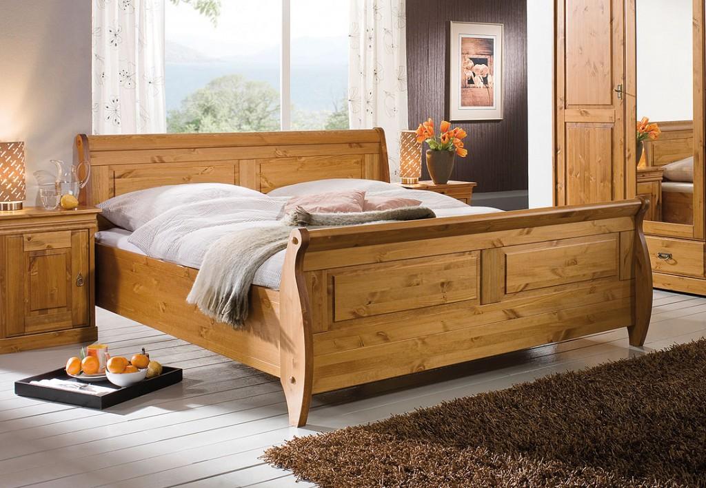 massivholz bett 180x200 holzbett doppelbett honig kiefer massiv. Black Bedroom Furniture Sets. Home Design Ideas