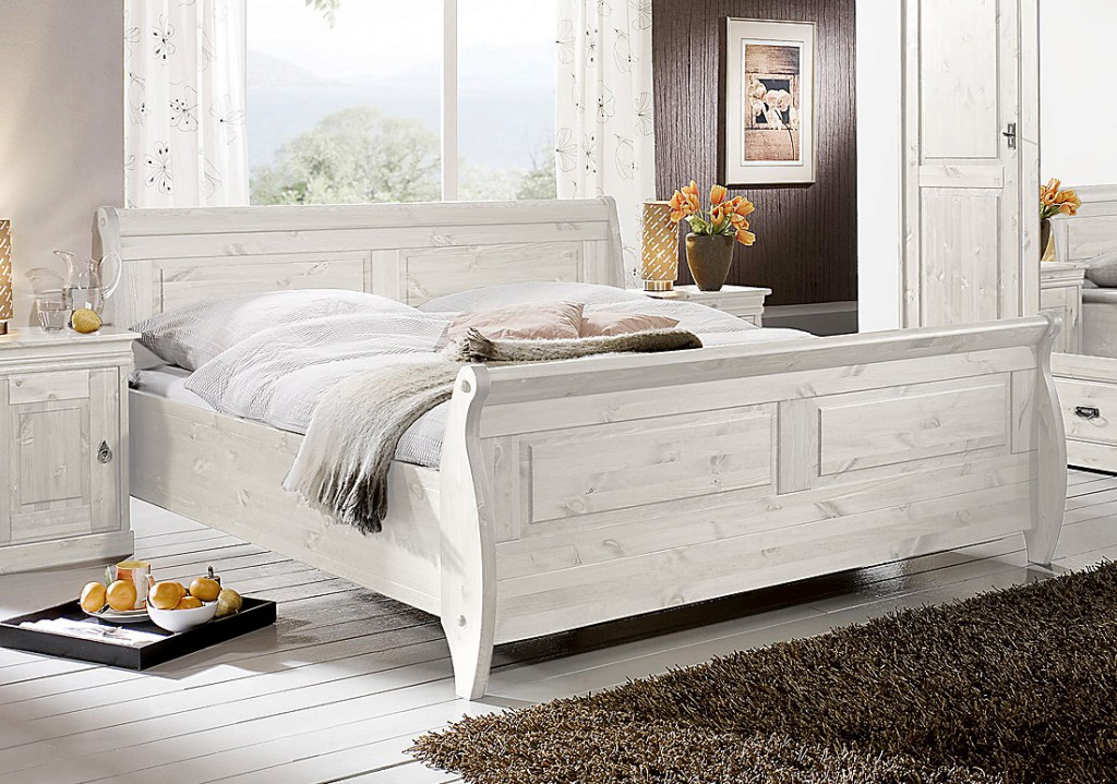 Doppelbett Weiß Holz : massivholz bett 180x200 holzbett doppelbett wei kiefer massiv ~ Indierocktalk.com Haus und Dekorationen