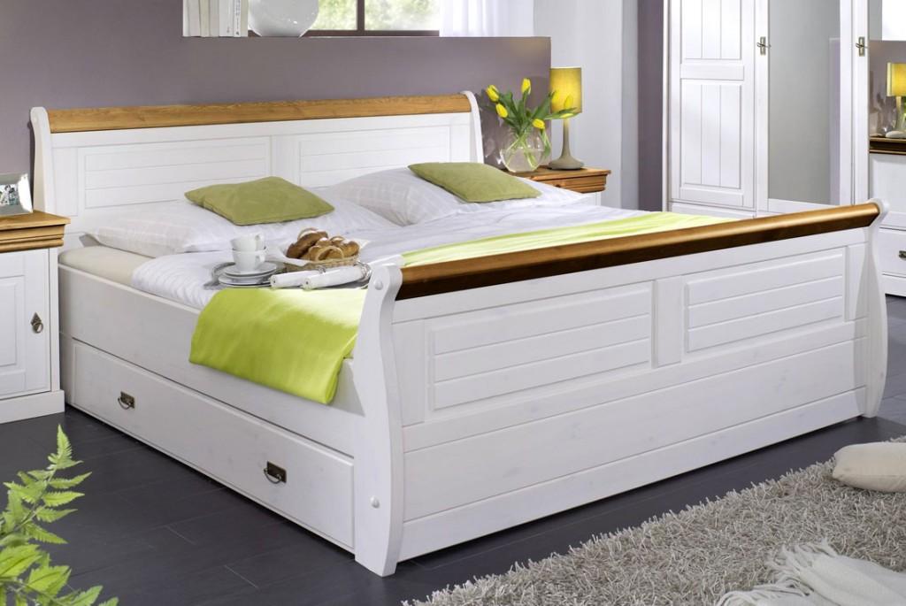 massivholz bett 180x200 holzbett mit bettkasten kiefer massiv wei honig. Black Bedroom Furniture Sets. Home Design Ideas