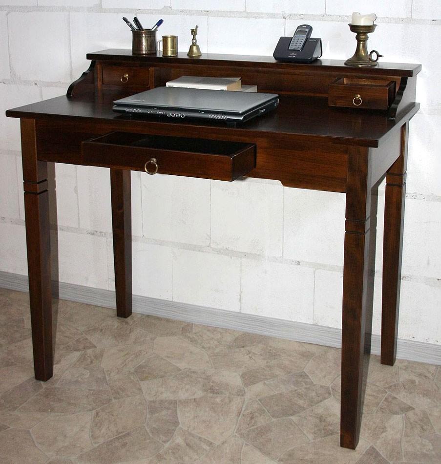 Schreibtisch nussbaumfarben sekret r holz massiv kolonial for Schreibtisch dunkel