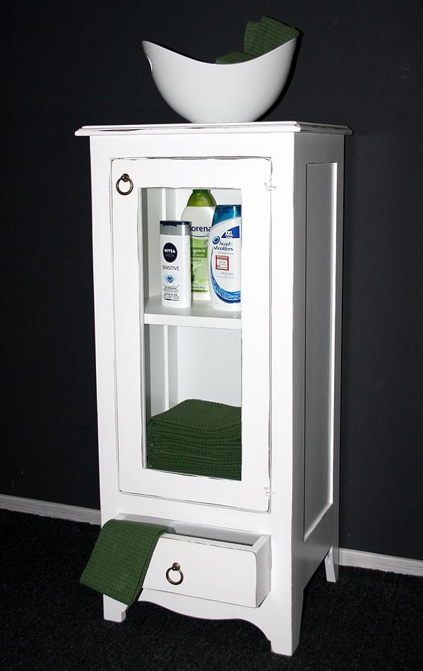 vitrinenschrank bad schrank vitrine flur kommode schmal massiv holz wei antik ebay. Black Bedroom Furniture Sets. Home Design Ideas