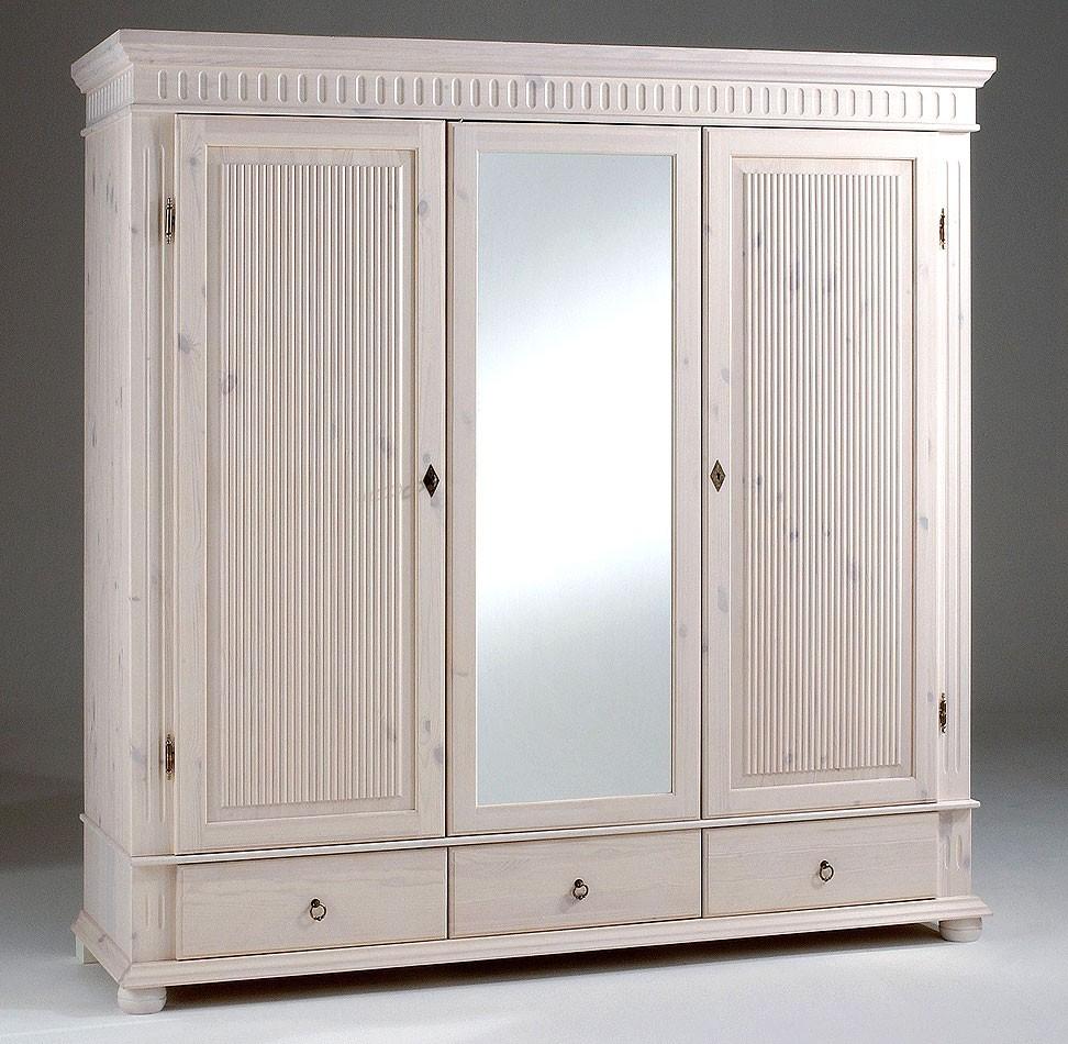 kleiderschrank 3 t rig wei mit spiegel kiefer massiv poarta. Black Bedroom Furniture Sets. Home Design Ideas