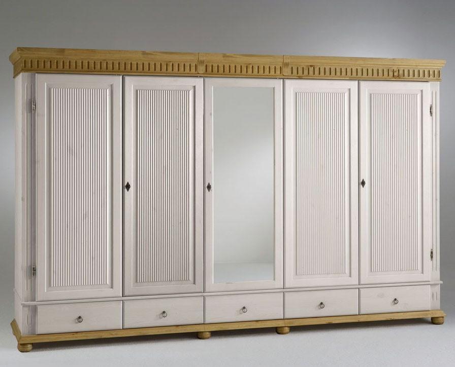 kleiderschrank 5 t rig xl wei mit spiegel kiefer massiv. Black Bedroom Furniture Sets. Home Design Ideas