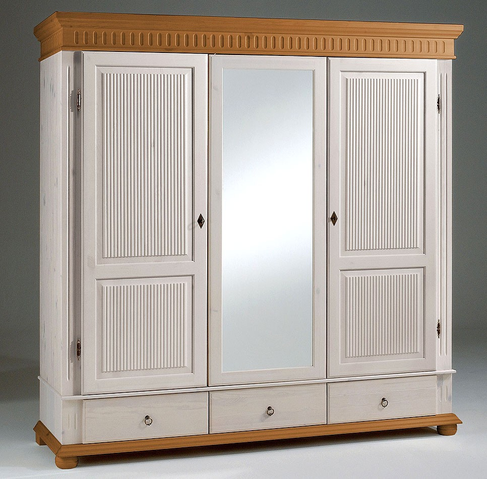 kleiderschrank 3 t rig wei antik mit spiegel kiefer massiv poarta. Black Bedroom Furniture Sets. Home Design Ideas