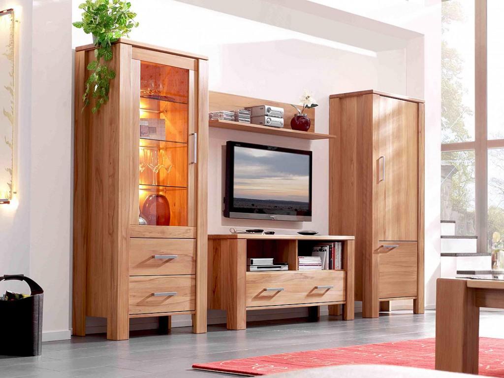 Nauhuricom wohnwand holz massiv neuesten design for Einbauküche massivholz