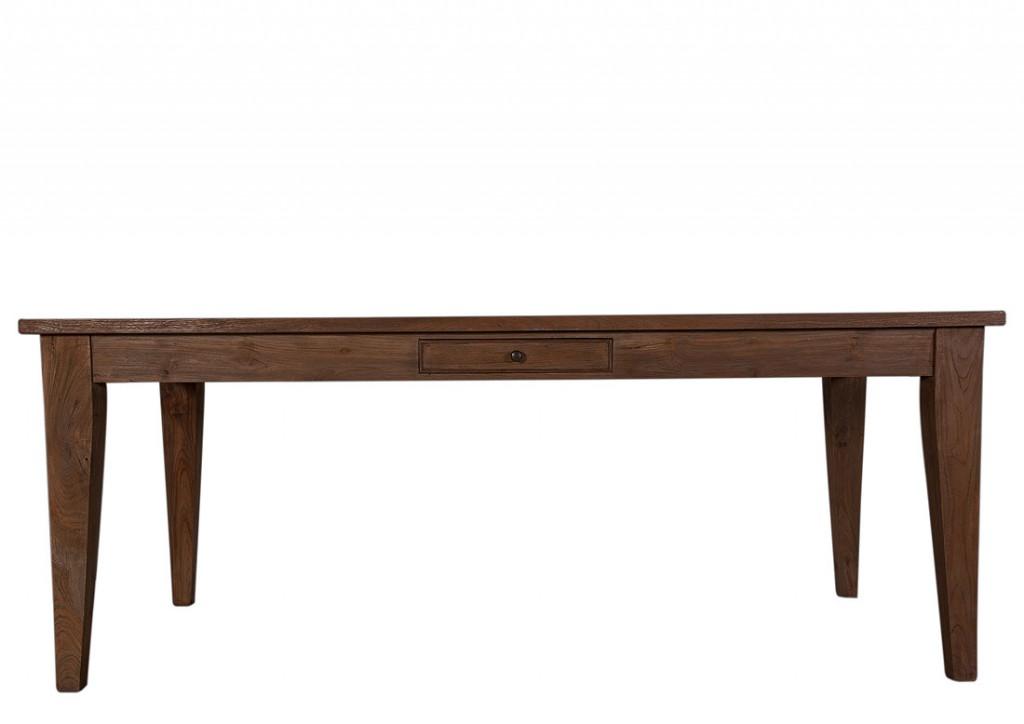 Couchtisch Holz Unbehandelt ~ Massivholz Esstisch Tisch mit Schublade Teak massiv 160×90 unbehandelt