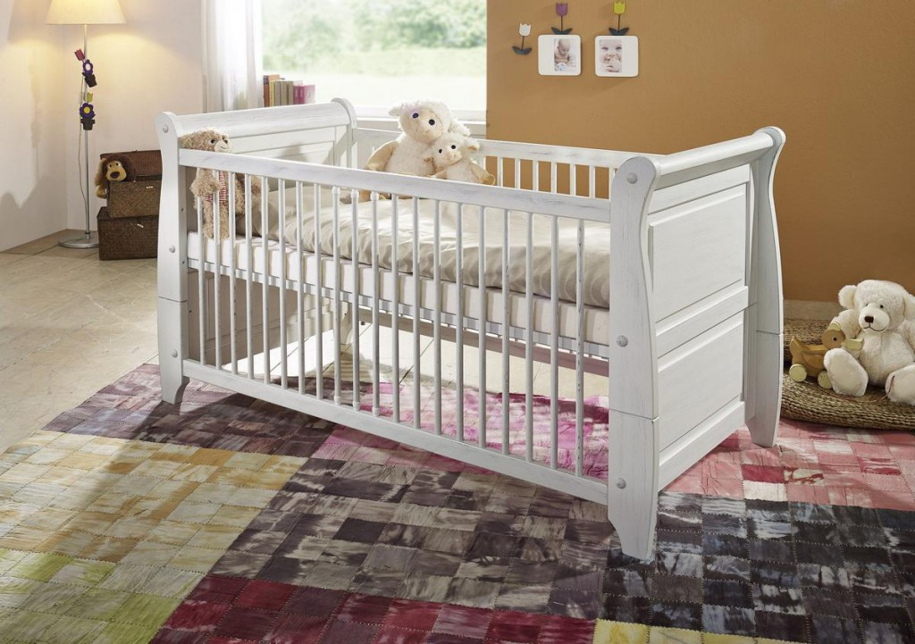 gitterbett kinderbett babybett bett 70x140 holz kiefer massiv wei shabby antik ebay. Black Bedroom Furniture Sets. Home Design Ideas
