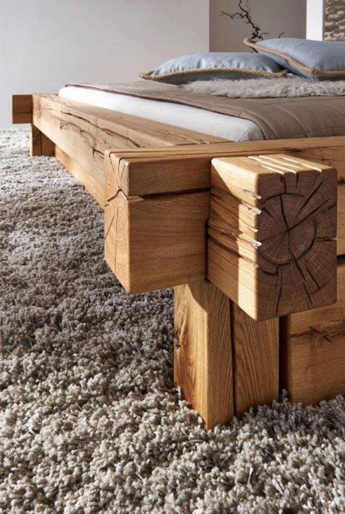 doppelbett bettgestell 180x200 balken bett rustikal massiv holz wildeiche ge lt ebay. Black Bedroom Furniture Sets. Home Design Ideas