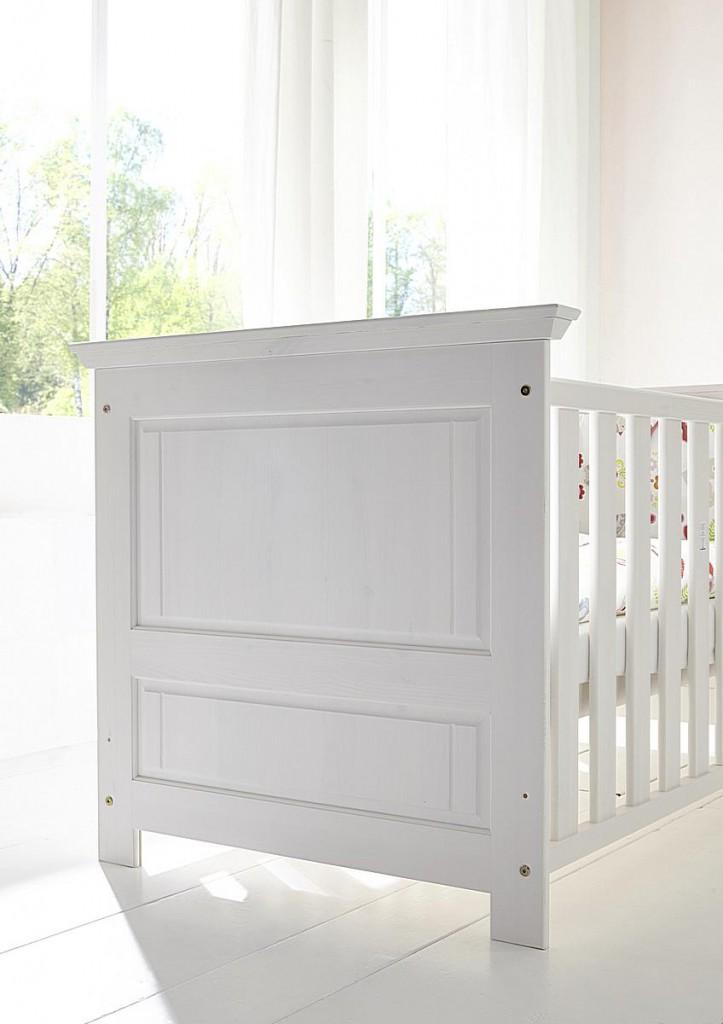 massivholz babybett wei gewachst kinderbett gitterbett. Black Bedroom Furniture Sets. Home Design Ideas