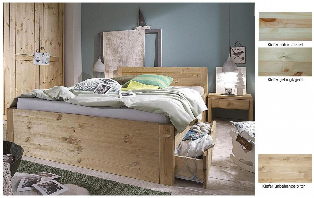 massivholz bett 160x200 4 schubladen komforth he xl schubladenbett kiefer natur. Black Bedroom Furniture Sets. Home Design Ideas