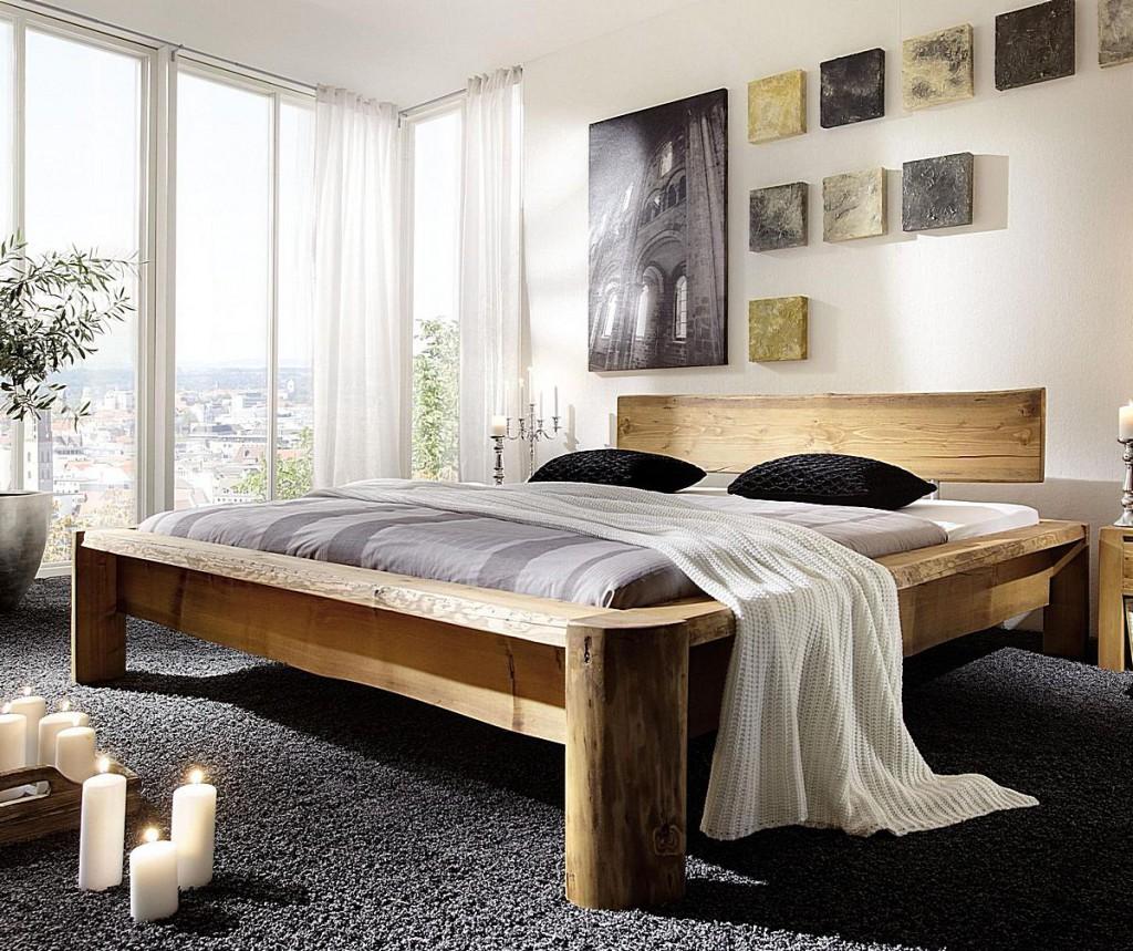 massivholz balkenbett 140x200 unikat vollholz rustikal. Black Bedroom Furniture Sets. Home Design Ideas