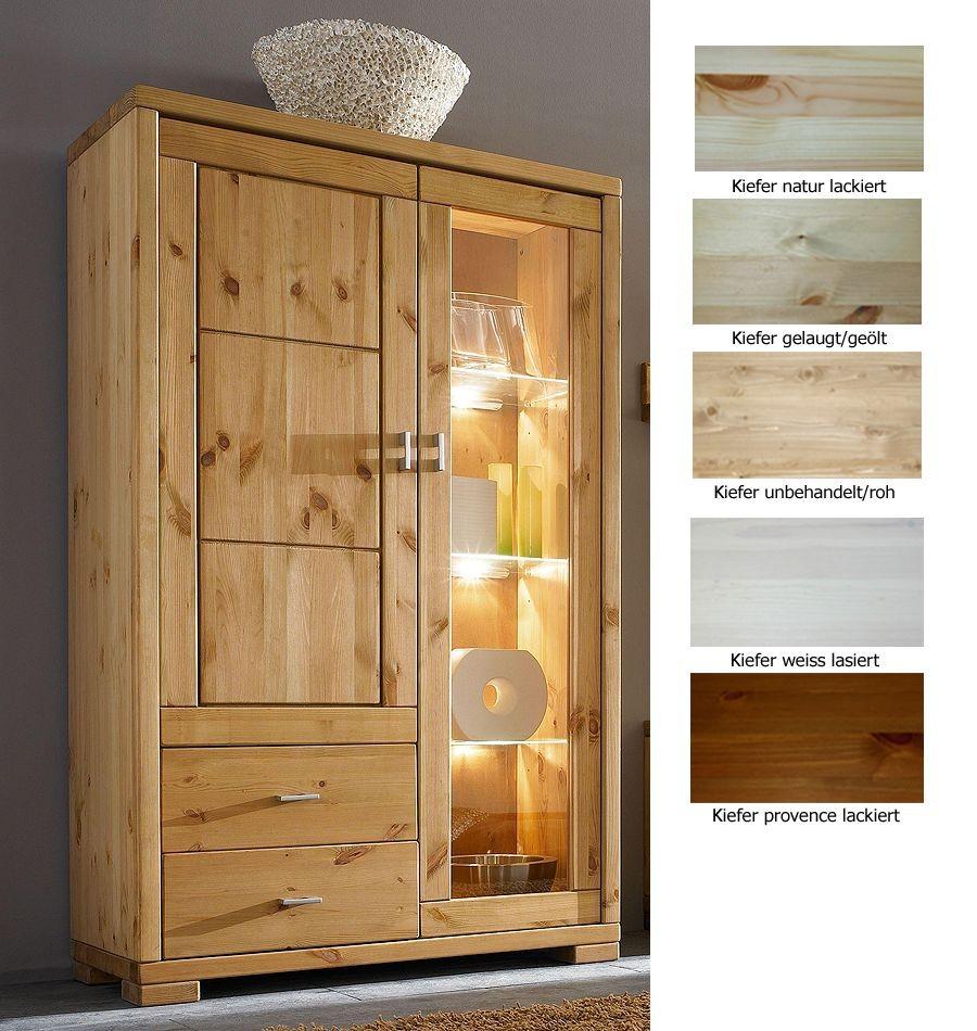 massivholz vitrine vitrinenschrank highboardvitrine kiefer. Black Bedroom Furniture Sets. Home Design Ideas