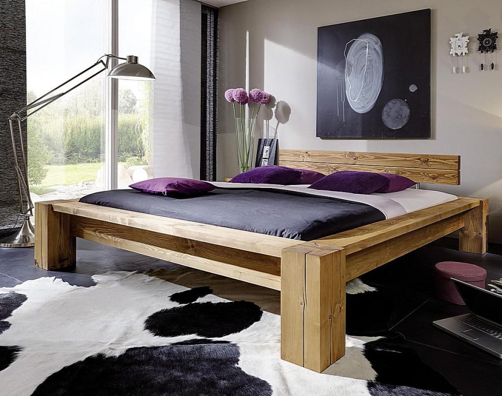 massivholz balkenbett 200x200 bett aus balken mit kopfteil rustikal antik gewachst. Black Bedroom Furniture Sets. Home Design Ideas