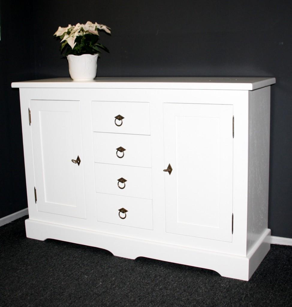 kommode wei sideboard anrichte mit 2 t ren und 4 schubladen pappel. Black Bedroom Furniture Sets. Home Design Ideas
