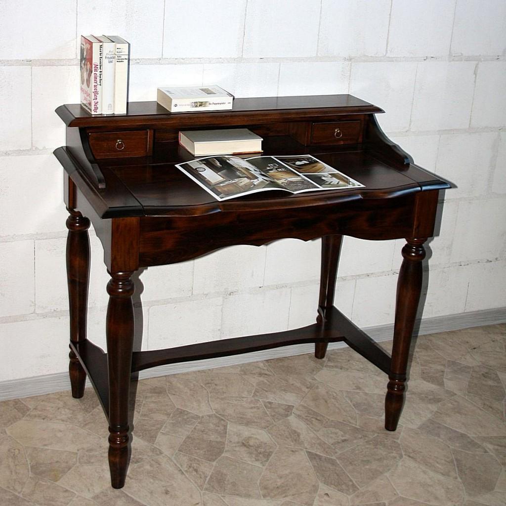 italienischer sekret r kolonial schreibtisch konsolentisch holz massiv. Black Bedroom Furniture Sets. Home Design Ideas