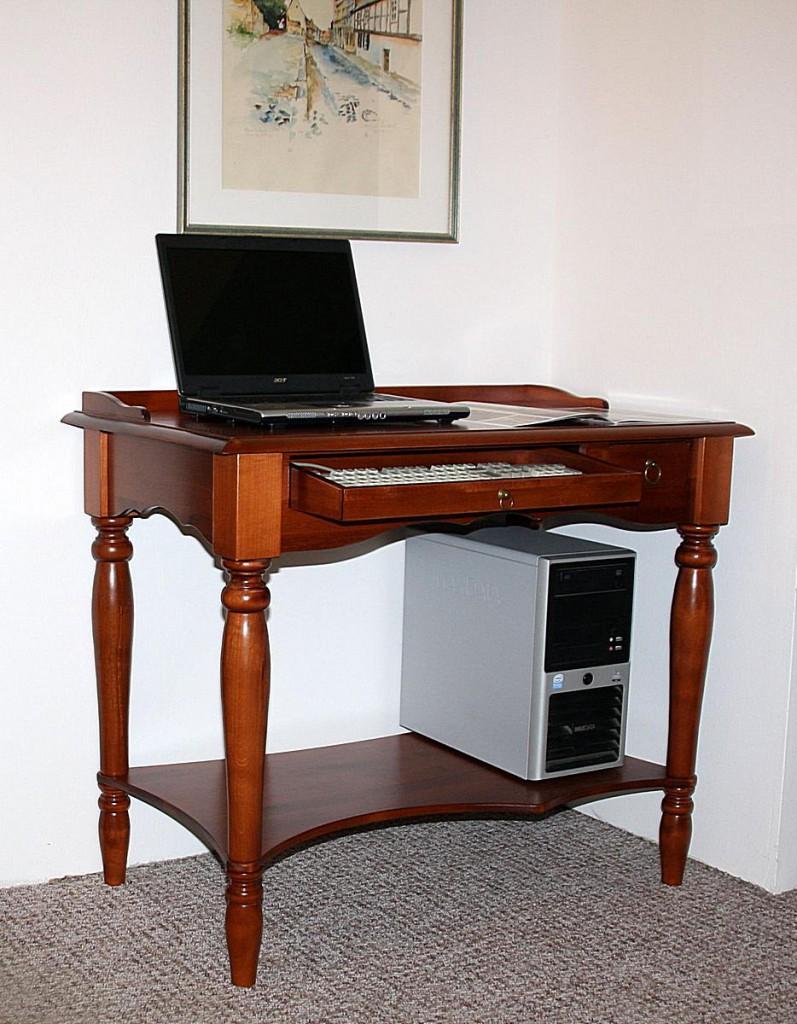 Massivholz Sekretär Computertisch Schreibtisch PC Tisch - Holz massiv kirschbaumfarben